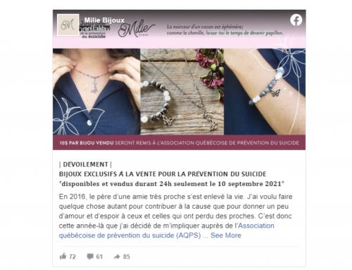 Le 10 Septembre : Vente de Bijoux Exclusifs pour la Journée Mondiale de la Prévention du Suicide